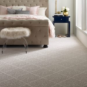 Designed Carpet in bedroom | Kopp's Carpet & Decorating
