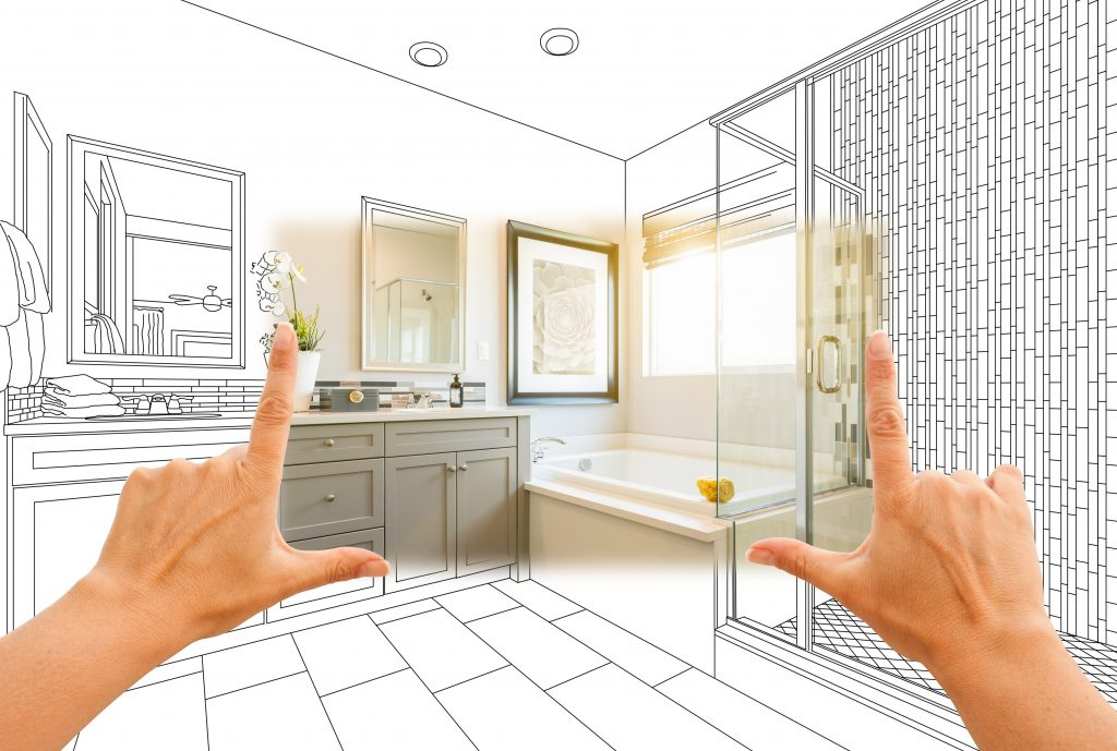 Master bathroom photo section with drawing behind | Kopp's Carpet & Decorating